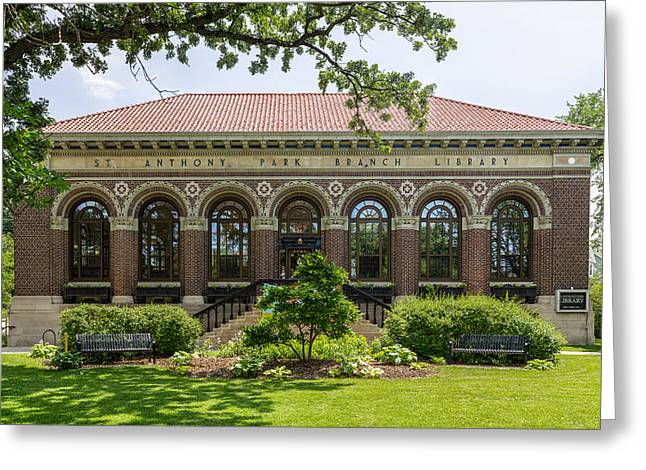 Greeting Card featuring the photograph St Anthony Park Library by Mike Evangelist