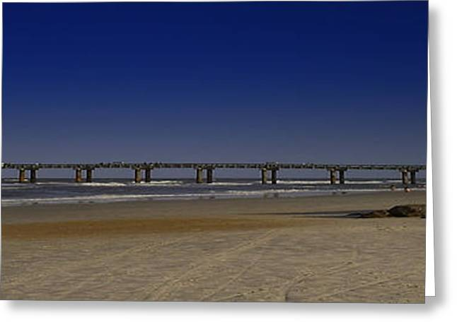St Augustine Beach Pier Greeting Card by Donnell Carr