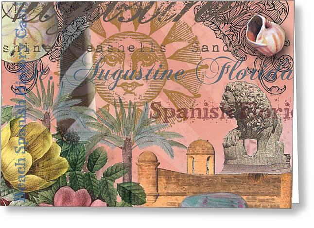 St. Augustine Florida Vintage Collage Greeting Card