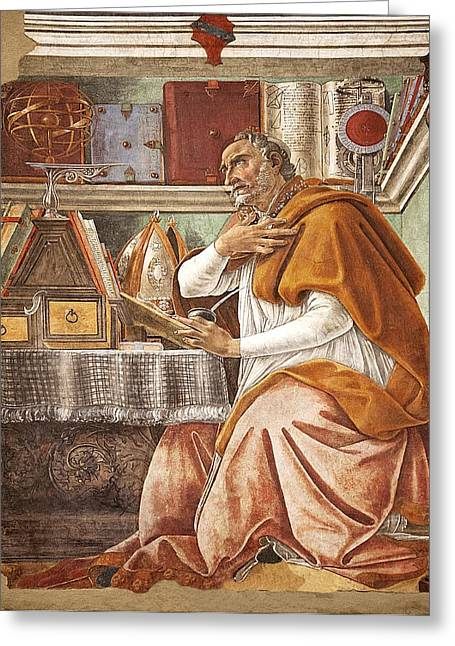 St. Augustine In His Study Greeting Card by Science Photo Library
