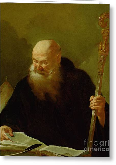 St. Benedict Greeting Card by Giambattista Piazzetta