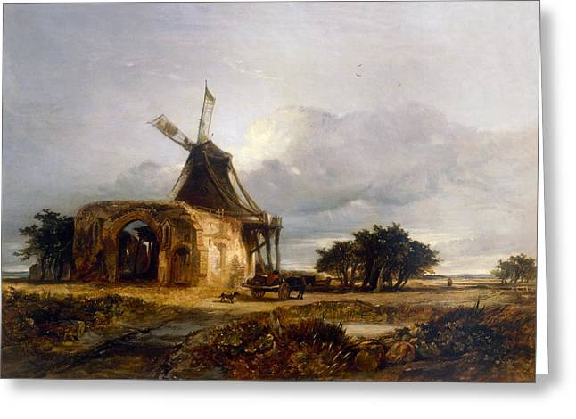 St Benets Abbey And Mill, Norfolk, 1833 Greeting Card by William James Muller
