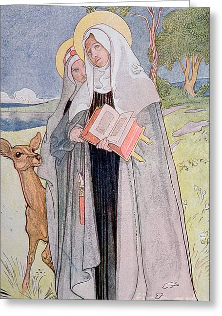 St Bridget Of Sweden Greeting Card by Carl Larsson