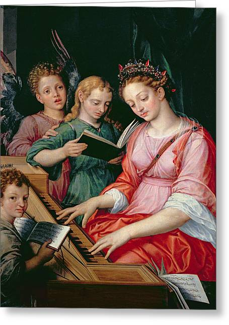 Saint Cecilia Accompanied By Three Angels Greeting Card by Michiel I Coxie or Coxcie