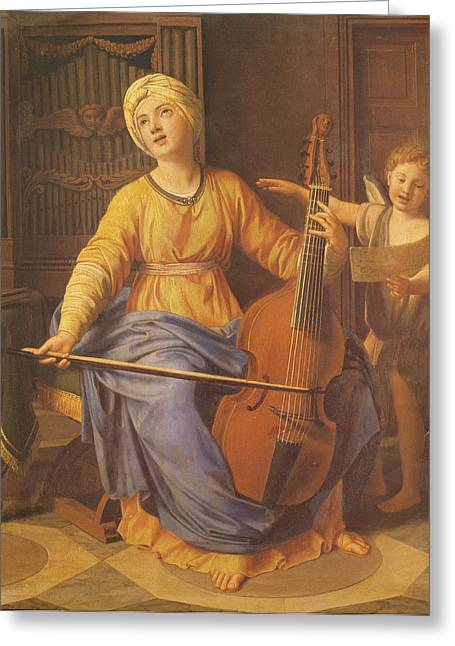 St. Cecilia Oil On Canvas Greeting Card by Nicolas Colombel