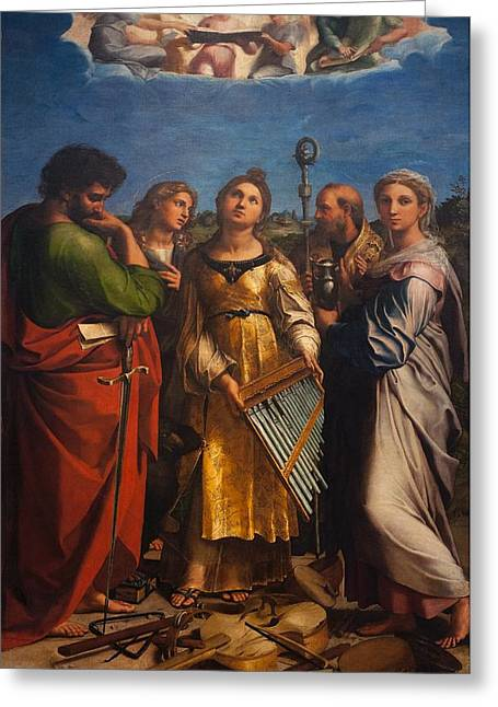 St. Cecilia With Sts. Paul John Augustine And Mary Magdalene Greeting Card by Raffaello Sanzio
