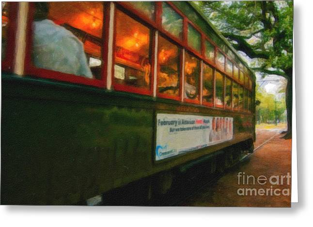 St. Charles Ave Streetcar Whizzes By - Digital Art Greeting Card by Kathleen K Parker