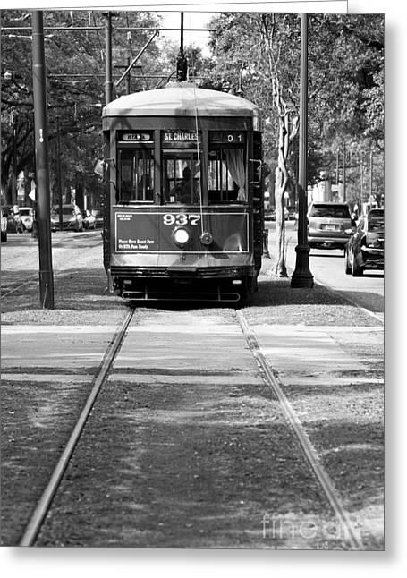 St Charles Avenue Trolley Train Rolling Through The Garden Distr Greeting Card