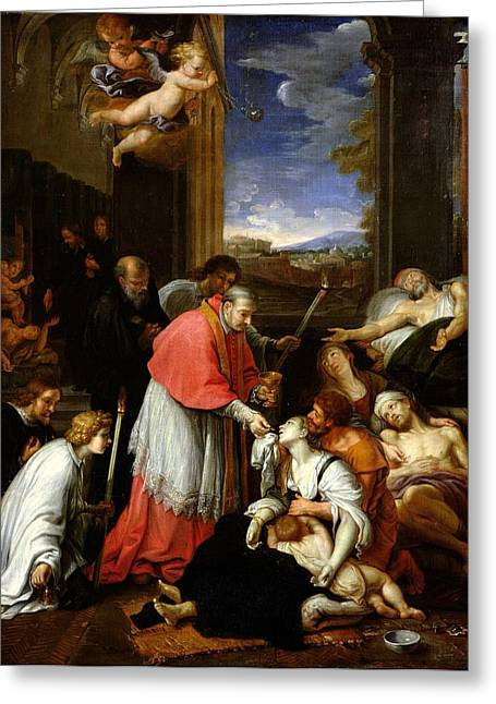 St. Charles Borromeo 1538-84 Administering The Sacrament To Plague Victims In Milan In 1576 Oil Greeting Card by Pierre Mignard