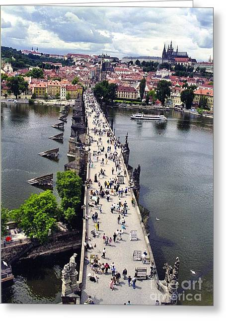 St. Charles Bridge Greeting Card by Joan Liffring-Zug Bourret