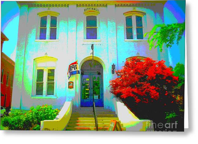 St. Charles County City Hall Painted Greeting Card by Kelly Awad