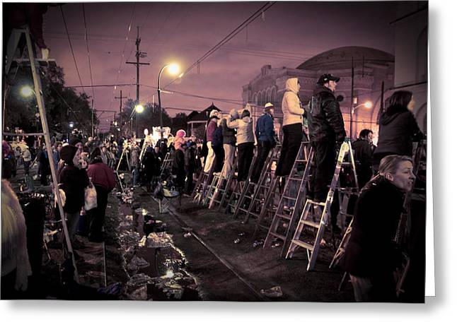 St Charles Night Parade Greeting Card by Ray Devlin