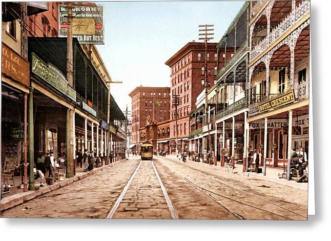 St Charles Street New Orleans 1900 Greeting Card