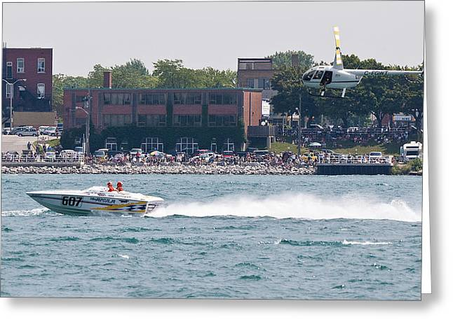 St. Clair Michigan Usa Power Boat Races-4 Greeting Card by Paul Cannon