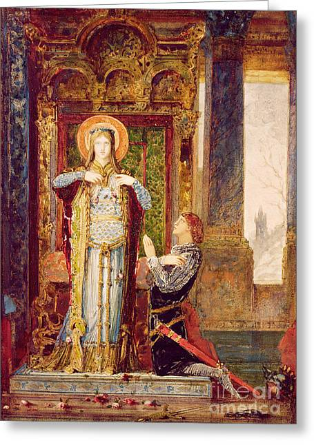 St Elisabeth Of Hungary Or The Miracle Of The Roses Greeting Card by Gustave Moreau