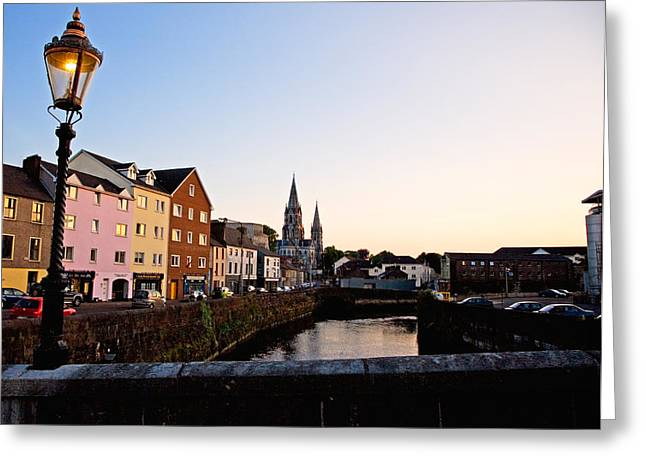 St Finbarrs Cathedral, River Lee South Greeting Card by Panoramic Images