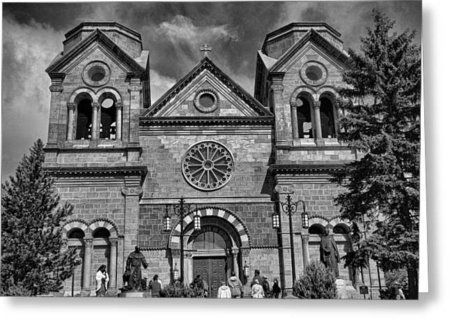 St. Francis Cathedral Basilica Study 5 Bw Greeting Card
