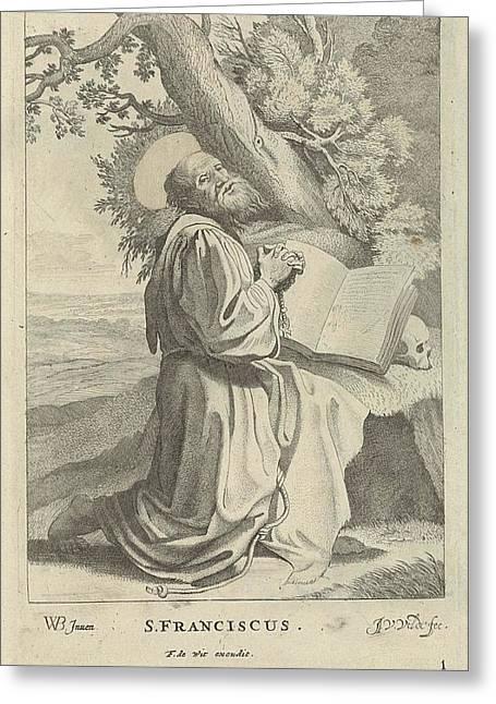 St. Francis, Jan Van De Velde II, Frederik De Wit Greeting Card by Jan Van De Velde (ii) And Frederik De Wit