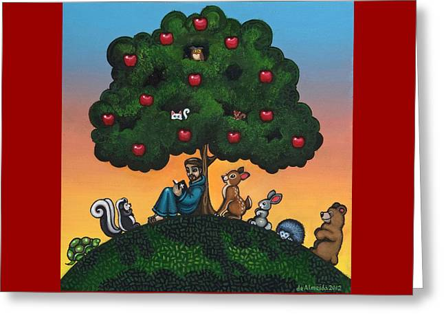 St. Francis Mother Natures Son Greeting Card by Victoria De Almeida