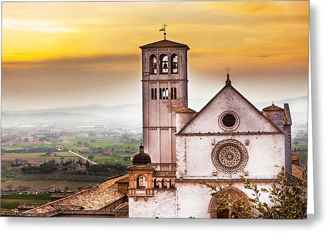 St Francis Of Assisi Church At Sunrise  Greeting Card by Susan Schmitz
