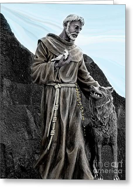 St Francis Of Assisi On Isabela In The Galapagos Greeting Card