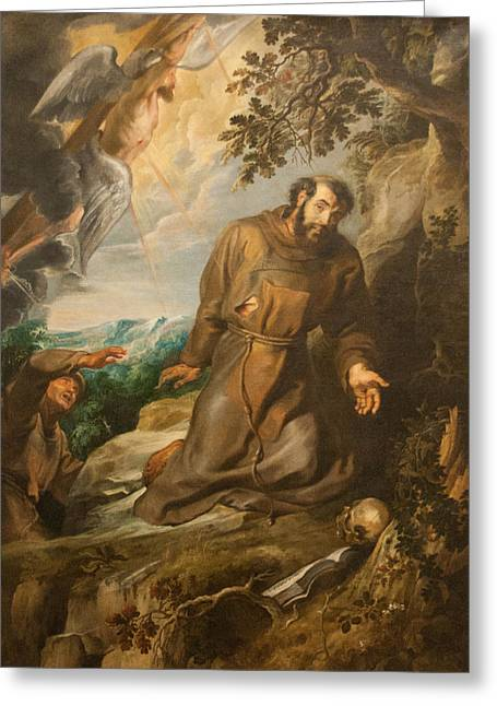 St. Francis Of Assisi Receiving The Stigmata Greeting Card