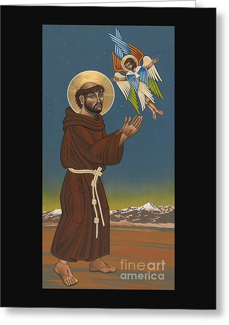 Greeting Card featuring the painting St. Francis Patron Of Colorado 186 by William Hart McNichols