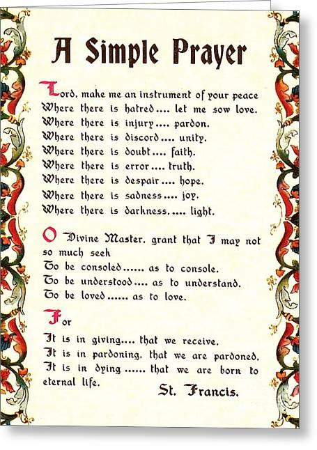 St. Francis Simple Prayer Greeting Card