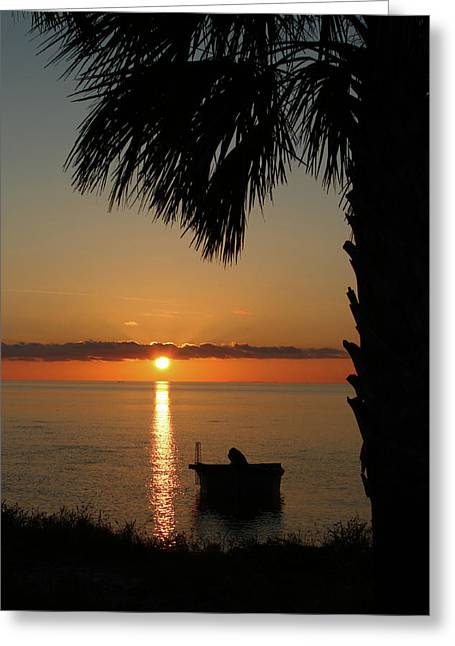 St. George Island Sunset Greeting Card by Lynn Jordan