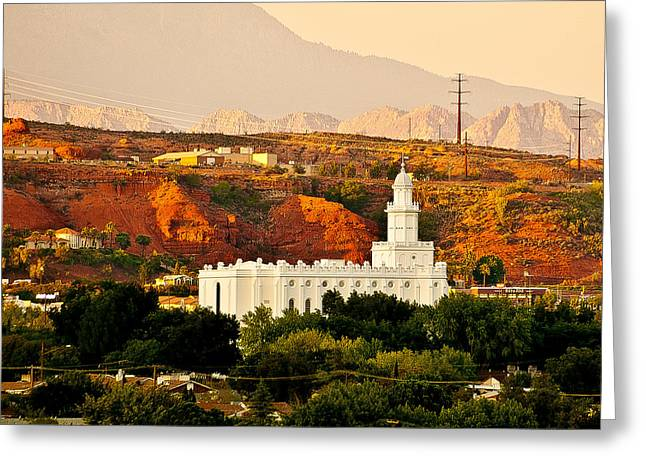 St George Temple Sunset Greeting Card