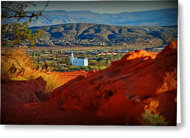 St. George Temple View Greeting Card