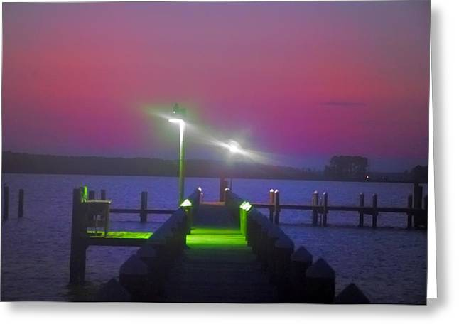 St. Georges Island Dock - Just Before Sunrise Greeting Card by Bill Cannon
