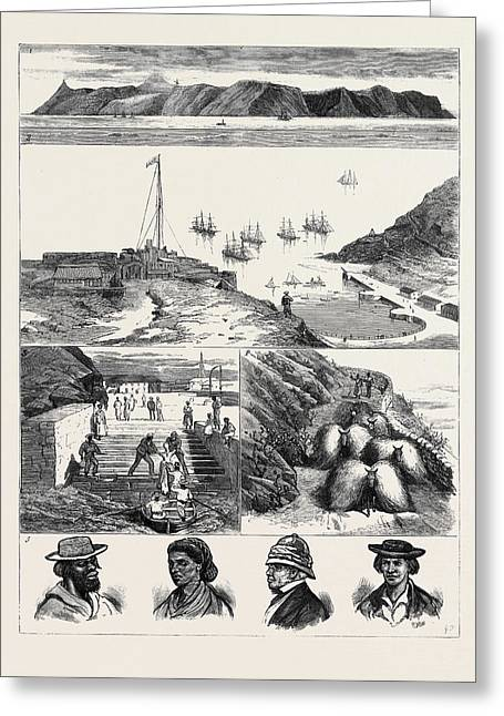 St. Helena 1. View Of The Island From The Sea 2 Greeting Card by English School