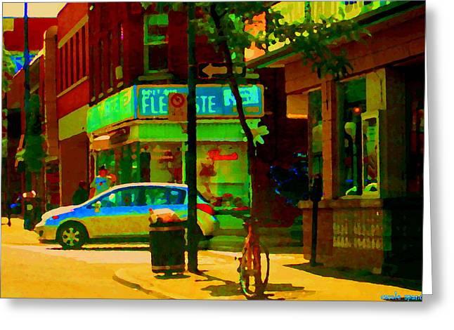 St Henri  Montreal Street Scene Corner Flower Shop Boutique Fleuriste Art Carole Spandau Greeting Card by Carole Spandau