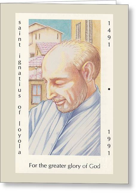 Greeting Card featuring the painting St. Ignatius At Prayer In Rome by William Hart McNichols