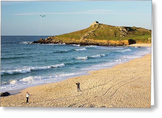 St Ives Head From Porthmeor Beach Greeting Card by Ashley Cooper