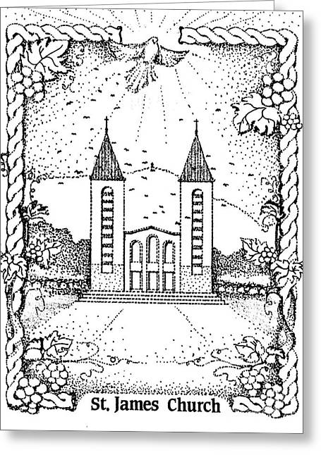 St James And Dove Greeting Card by Christina Verdgeline