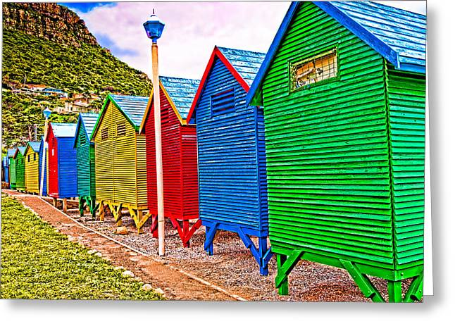 St James Beach Houses From Behind Greeting Card by Cliff C Morris Jr