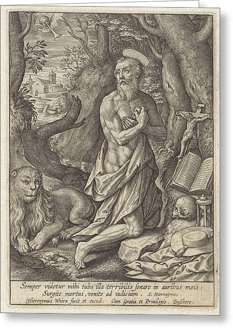 St. Jerome As A Penitent In The Desert, Hieronymus Wierix Greeting Card