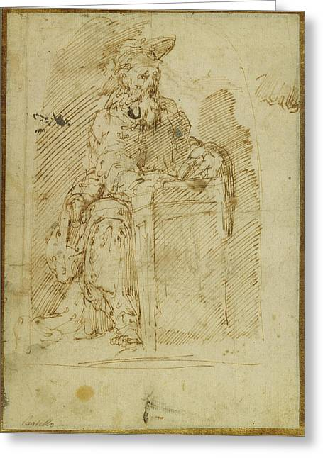 St. Jerome Recto,  Kneeling Male Nude, With His Head Greeting Card by Litz Collection
