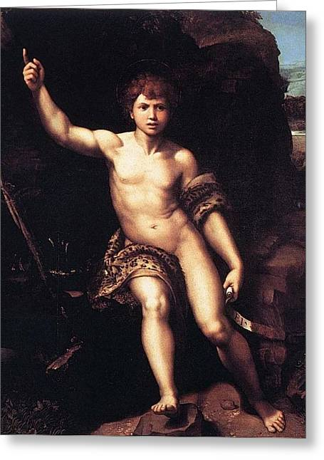 St. John The Baptist In The Desert Greeting Card by Raffaello Sanzio