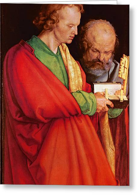 St. John With St. Peter And St. Paul With St. Mark, 1526 Oil On Panel Detail Of 170205 Greeting Card by Albrecht D�rer or Duerer
