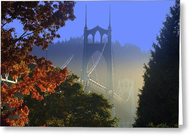 St. Johns Bridge Greeting Card by DerekTXFactor Creative