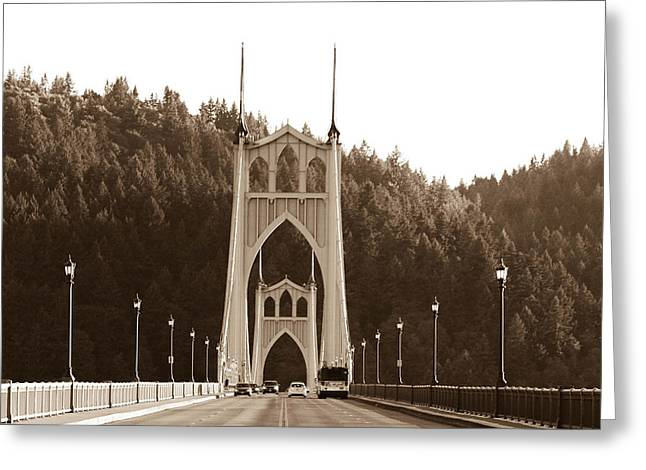 St. John's Bridge Greeting Card by Patricia Babbitt