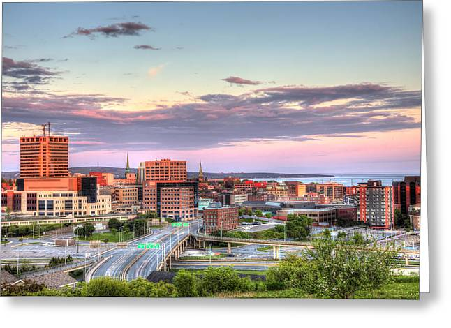 Greeting Card featuring the photograph St. John's New Brunswick Sunset Skyline by Shawn Everhart