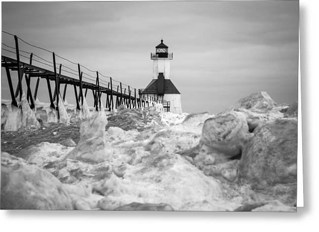 St. Joseph Lighthouse In Ice Field Greeting Card