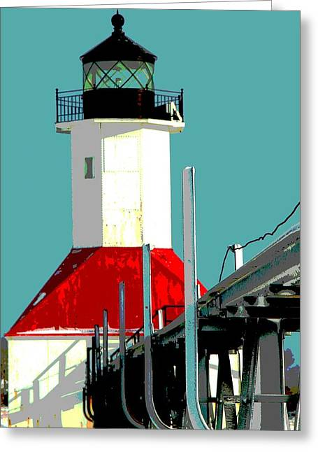 St. Joseph Lighthouse Michigan Greeting Card by Dan Sproul
