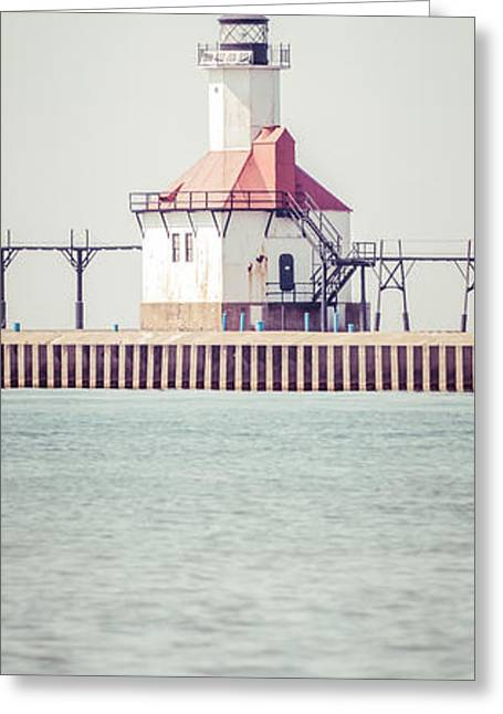 St. Joseph Lighthouse Vertical Panorama Photo Greeting Card by Paul Velgos