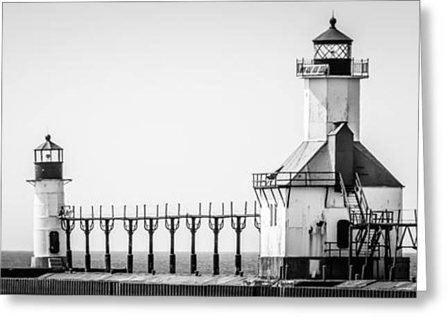 St. Joseph Lighthouses Panorama Picture Greeting Card by Paul Velgos