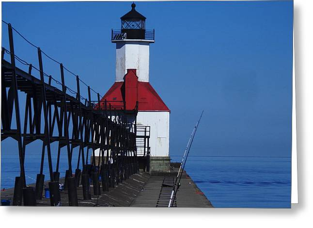 St Joseph North Point Lighthouse Greeting Card by Rose Clark